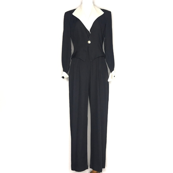 JR Nites Pants - VTG JR Nites 90s Black Jumpsuit Blazer Set H0858